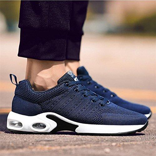 Scarpe sportivi da uomo Flyknit Superficie della maglia Sneaker Scarpe da corsa per il tempo libero Cuscino d'aria Scarpa da tiraggio respirabile , Blue , 41