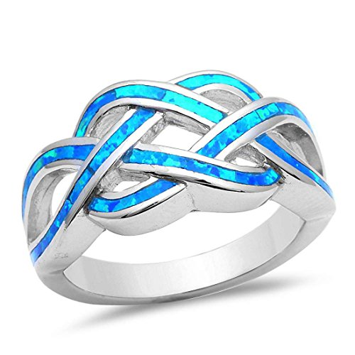 Crisscross Infinity Celtic Lab Created Blue Opal Ring 925 Sterling Silver 5-13