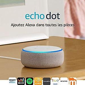Echo Dot (3ème génération), Enceinte connectée avec Alexa, Tissu sable 9