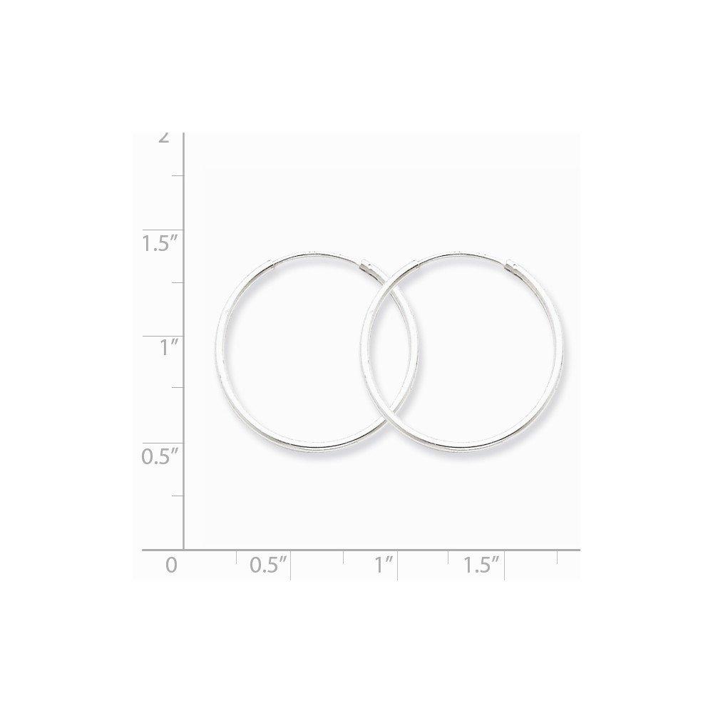 Mia Diamonds 925 Sterling Silver 1.3mm Hoop Earrings 25mm x 25mm