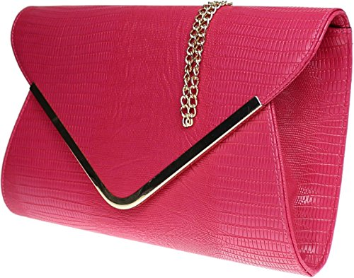 Animal Envelope Croc Print Rose Bag Evening Black Flat Ladies Dark Clutch SqxpCwp
