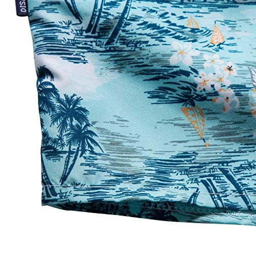 NUWFOR Men Hawaiian Print Short T-Shirt Sports Beach Quick Dry Blouse Top Blouse(Blue,XL US Chest:45.3'' by NUWFOR (Image #4)