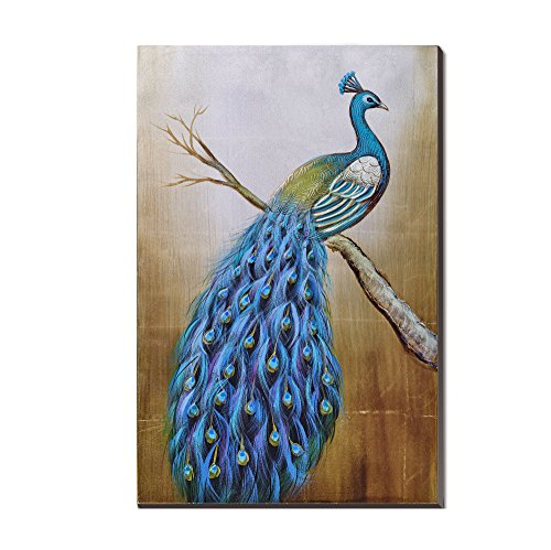3Hdeko-Peacock Oil Painting Mosaic Gold Foil Large Size 20x30 Inch cubism Hand painted Canvas Classic Blue Peacocks Birds on the Tree for Bedroom/Living room Wall Art Decor ,Framed, Ready to Hang