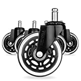 JGWheels Office Chair Caster Wheels Replacement (Set of 5)-Rollerblade caster wheels - 3-Inch Heavy Duty - Idea for Hardwood Floors, Cool Non-Marking.Smart Rolling With Universal Fit