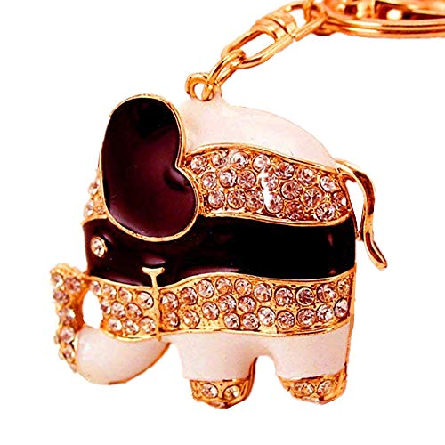 JewelBeauty Shiny Elephant Keychain Sparkling Keyring Crystal Purse Pendant Rhinestones Handbag Charm(Black&White Stripe)