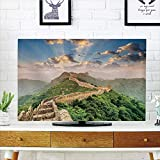 iPrint LCD TV dust Cover Strong Durability,Great Wall of China,Oriental Medieval Blockade on High Lands Old Wonders The Past Picture,Blue Green,Picture Print Design Compatible 37'' TV