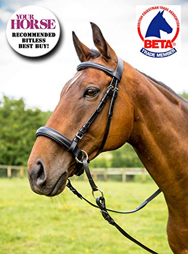 English Leather Crossover Crossunder Bitless Bridle Headstall with Reins
