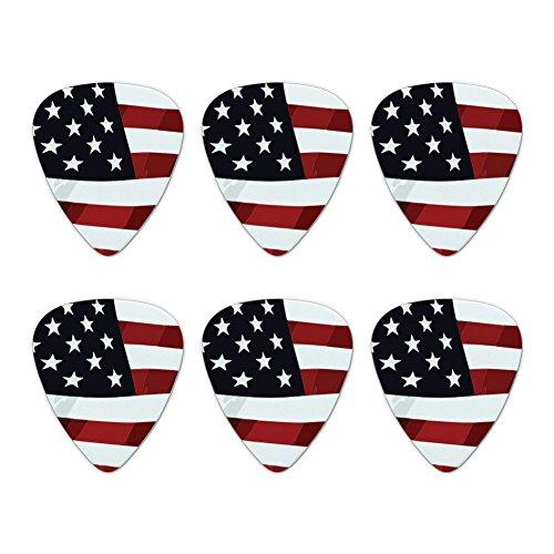 US American Flag Stars and Stripes Waving United States USA Novelty Guitar Picks Medium Gauge - Set of 6