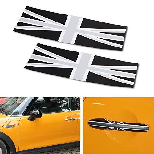 - iJDMTOY Black Union Jack UK Flag Pattern Vinyl Sticker Decals for All Mini Cooper Models for Door Handles