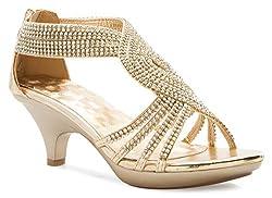 Gold Open Toe Strappy Rhinestone Low Heel Sandal