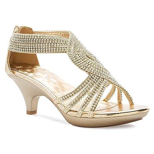 a3183e456fd2 cheap OLIVIA K Women s Open Toe Strappy Rhinestone Dress Sandal Low Heel  Wedding Shoes