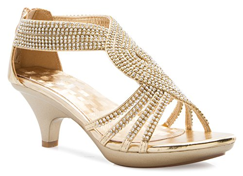 OLIVIA K Women's Open Toe Strappy Rhinestone Dress Sandal Low Heel Wedding Shoes by OLIVIA K