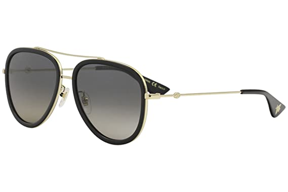 3793bc542a306 Amazon.com  Gucci GG 0062S 011 Black Gold Metal Aviator Sunglasses ...