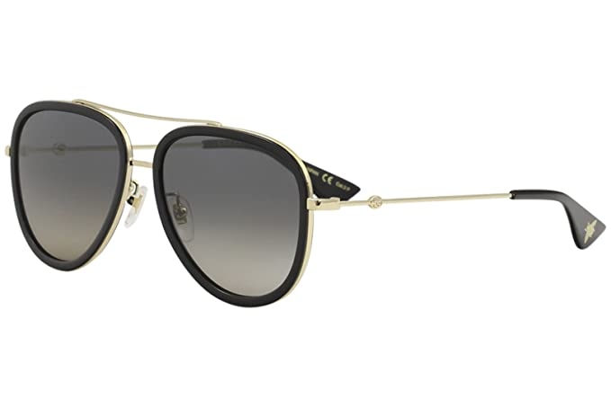 484245ecd01 Amazon.com  Gucci GG 0062S 011 Black Gold Metal Aviator Sunglasses Grey  Gradient Polarized Lens  Clothing