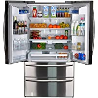 SMETA 20.7 Cu Ft Counter Depth French Door Refrigerator Bottom Freezer with Automatic Ice Maker in Stainless Steel