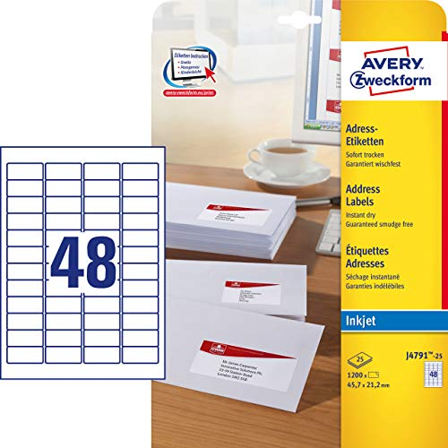 Avery Zweckform J4791 Paper Matt Address Labels 45.7 x 21.2 mm 25 Sheets White Pack of 1200 ()