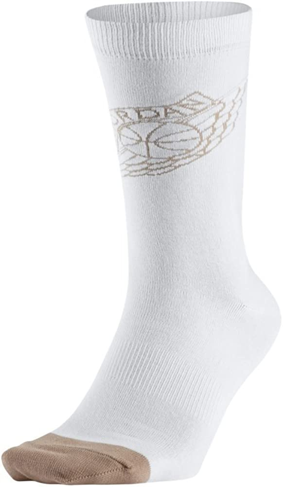 Nike Men's Air Jordan 2 Crew Socks White/Tan SX6076-100 (Shoe Size 8-12) 51N0uW-CQvL
