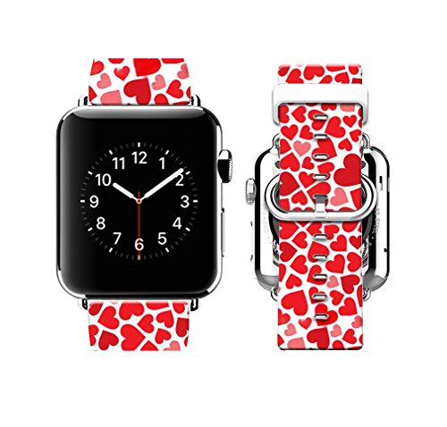 Strap Heart Leather Band Watch (Apple Watch Band 38mm Premium Genuine Leather Strap Wrist Band w Metal Clasp for Apple Watch & Sport & Edition Red heart-shaped pattern-38mm)