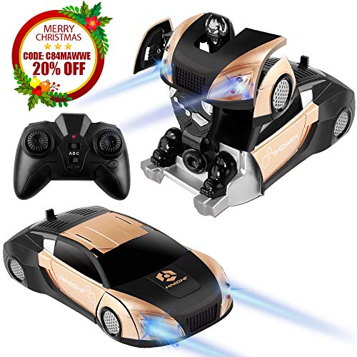 HQQNUO Remote Control Car Transform Toys Wall Climbing Dual Mode Rechargeable 360°Rotating with One-Button Deformation Function and LED Lights RC Cars Toy for Kids