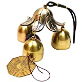 Patgoal Antique Copper 3 Bells Lucky Wind Chimes Outdoor Home Decoration For Sale