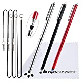 The Friendly Swede Extra Long - Bundle of 3 Premium XXL Thin-Tip High Precision Universal Capacitive Stylus Pens 7.3'' + Extra 3 Replaceable Tips + 2 x 15'' Elastic Tether Lanyards + Cleaning Cloth in Retail Packaging (Red + Black + Silver)