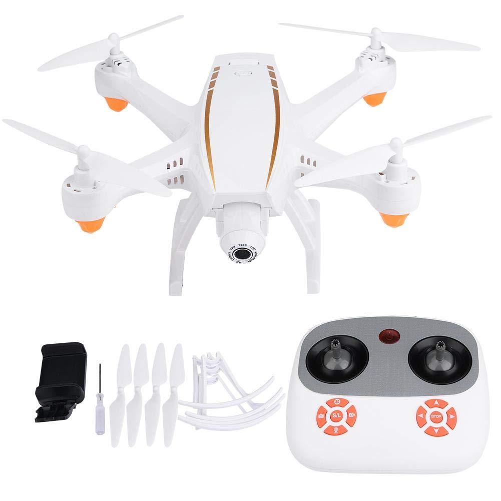 RC Drone, F20 2.4GHz Modo sin Cabeza Quadcopter Altitude Hold Aeronave WiFi HD Cámara de Lente Gran Angular RC Drone, Blanco(F20W Air Pressure)
