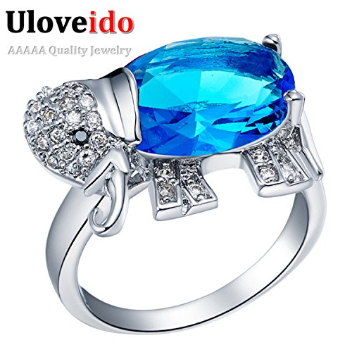 Dudee Jewelry Elephant Ring Animals Rainbow/Red/Blue/Purple Crystal Women Ring with Big Stones Fashion Silver Plated Ring Jewelry J378