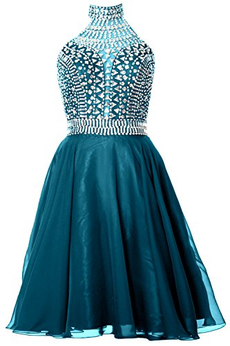 Dress MACloth Halter Formal Homecoming Gown Gorgeous Cocktail High Teal Neck Prom IUUq65Cxw
