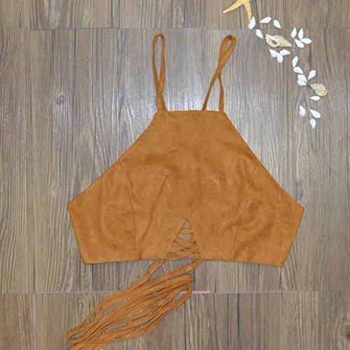 Amlaiworld Gilet donna,Boho Canottiere reggiseno Bustier gilet Crop Bralette camicia camicetta Cami