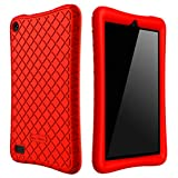 Bear Motion Silicone Case for All New Fire 7 2017 - Anti Slip Shockproof Light Weight Kids Friendly Protective Case for Amazon Kindle Fire 7 (ONLY for 7th Generation 2017 Model) (Red)