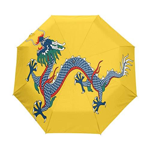 Umbrella Imperial China Flag Golf Travel Sun Rain Windproof Auto umbrellas with UV Protection for Girls Boys Kids ()