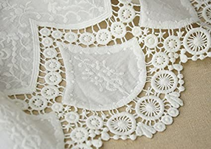Amazon Com Cotton Embroidery Lace Fabric White Wedding Embroidery