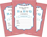 baby bbq - BBQ Blue Boy 5x7 Baby Shower Invitations - 24 Invites and 24 Envelopes