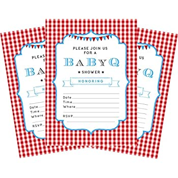 BBQ Blue Baby Boy 5x7 Baby Shower Invitations   24 Invites And 24 Envelopes