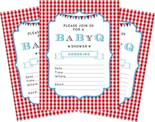 BBQ Blue Baby Boy 5x7 Baby Shower Invitations