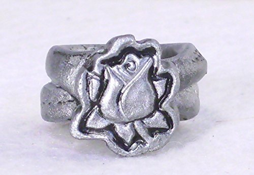 0.50 inch Wide Band Statement Ring Rosebud on Vine Patina Rose Rustic Metallic Silvertone Black Distressed Faux Metal Porcelain Clay Art Hair Jewelry Dread Bead