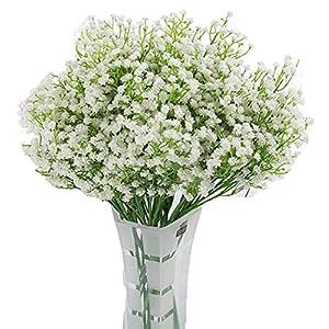 LNHOMY Artificial Gypsophila Real Touch Flowers Baby Breath Fake Silk Plants Wedding Party Home Garden Decoration DIY Flower 10 PCS (Cream) 22