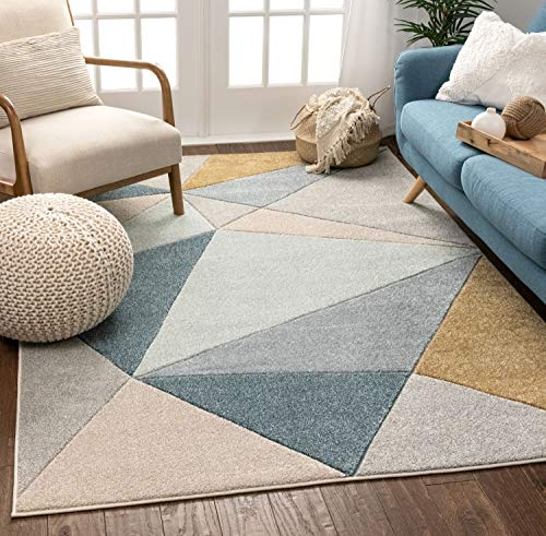 Well Woven Tessa Blue Modern Geometric Shatter Triangles Pattern Area Rug 5×7 (5'3″ x 7'3″)
