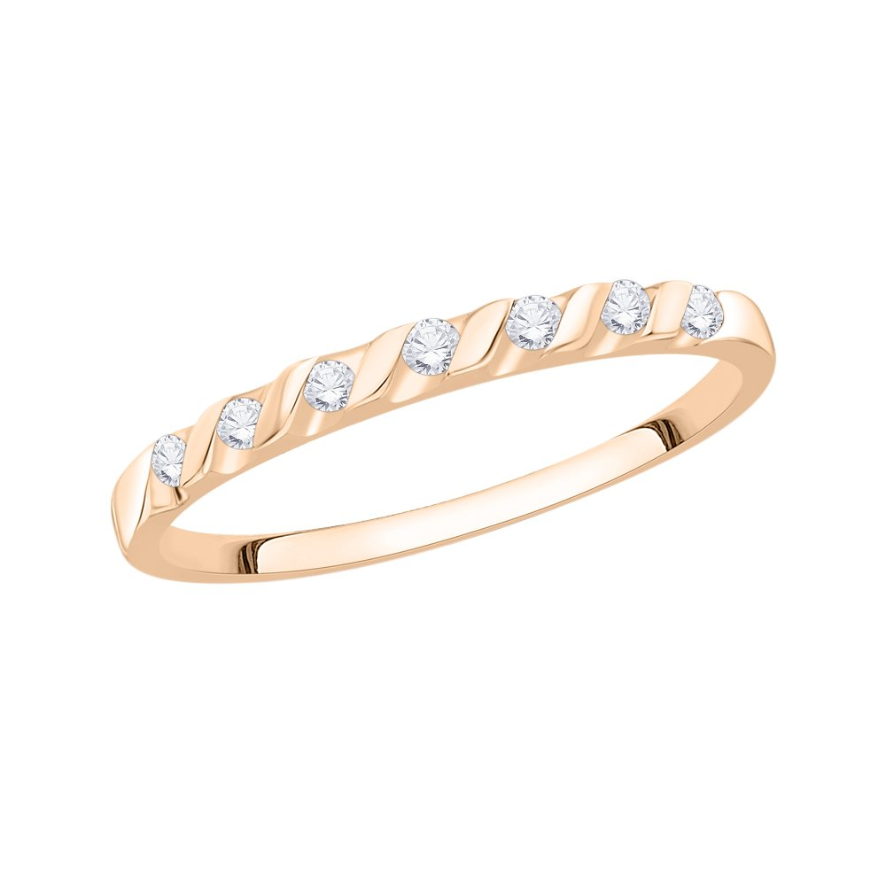 G-H,I2-I3 Size-11.5 Diamond Wedding Band in 10K Pink Gold 1//10 cttw,