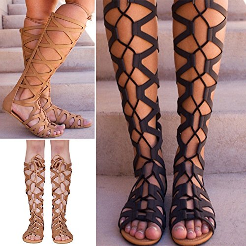 Cheyuan Women Knee High Sandals - Fashion Summer Flat Breathable Boots Shoes, Ladies Gladiator Sandals, Peep Toe Elegant Casual Beach Strappy Sandals/Roman Sandals Back Zipper Lace-up Shoes 35-43 Brown