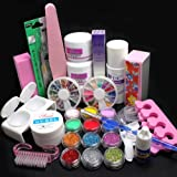 Diy Gel Nails Birthday Gift! 21 in 1 DIY Nail Art Decorations Uv Gel Kit Brush Buffer Tool Nail Tips Glue Colorful Acrylic Powder Glitter 4 way Buffer Block Sanding Files Salon Set Tools #189 by RY