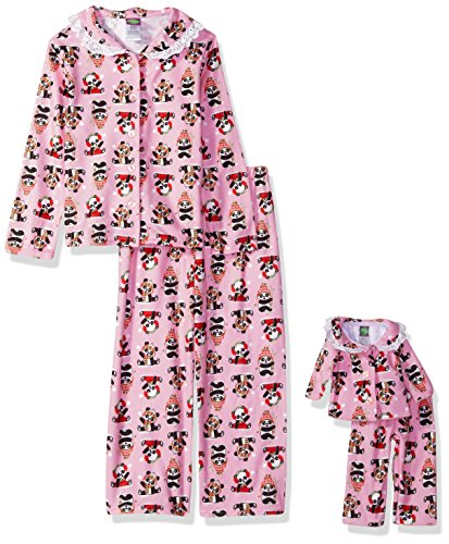 Dollie & Me Big Girls' 2 Piece Flannel Button Front Sleep Set With Matching 18 Inch Doll Outfit, Pink Panda, 12 ()