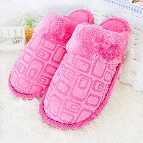 Pink JaHGDU Ladies Casual Fall and Winter Warm Slipper Indoor Home Villus Cotton Printed Pattern High Wear Resistance Warmth Slip Slippers