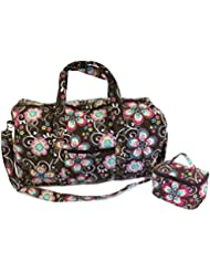 22 Quilted Duffel Cotton Carry On Bag with 7 Cosmetic Bag