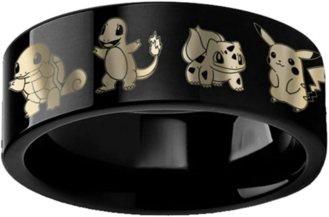 Thorsten Inside Engraved Starter Pokemon Pikachu Charmander Squirtle Bulbasaur Black Tungsten Ring Flat and Polished 8mm Wide with Custom Inside Engraved Personalized from Roy Rose Jewelry