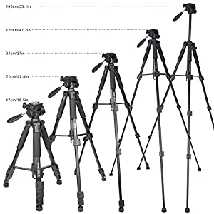 """ZOMEI 55"""" Light Weight Aluminum Tripod Flexible Camera Tripod 4s Stand with 1/4 Mount 3-Way PanHead for DSLR EOS Canon Nikon Sony Samsung with Bag-F467"""