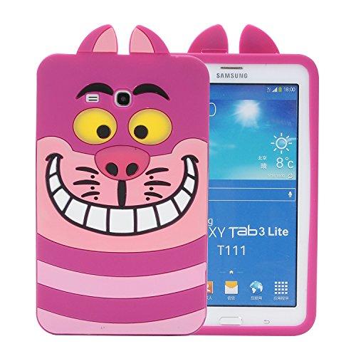 Samsung Galaxy Tab E lite 7.0 & Tab 3 Lite T110/T111 Case,Phenix-Color 3D Cute Soft Silicone [Drop Proof,Shock Proof,Anti Slip] Cartoon Gel Rubber Back Cover Case for Galaxy Tab E Lite 7.0 (#07) (Kitty Hello Tablet Samsung)