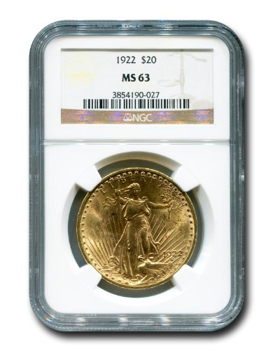 1922 No Mint Mark Saint Gaudens Twenty Dollar NGC MS-63