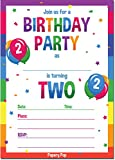 2nd Birthday Party Invitations with Envelopes (15 Count) - 2 Year Old Kids Birthday Invitations for Boys or Girls - Rainbow