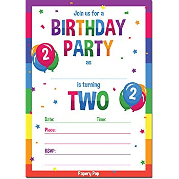 2nd Birthday Party Invitations With Envelopes 15 Count